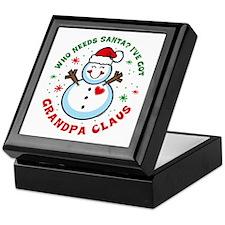 Snowman Grandpa Claus Keepsake Box