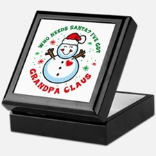 Snowman Grandpa Claus Keepsake Box