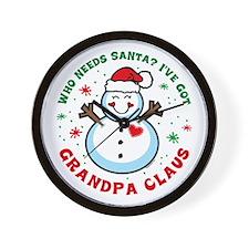 Snowman Grandpa Claus Wall Clock