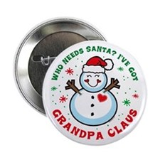 "Snowman Grandpa Claus 2.25"" Button"