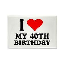 I Heart My 40th Birthday Rectangle Magnet