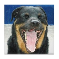 Gross Rottweiler Smile photo portrait Tile Coaster