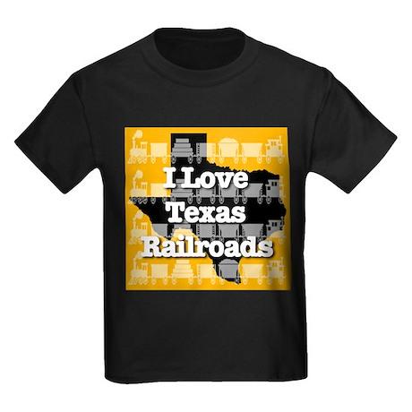 I Love Texas Railroads Kids Dark T-Shirt