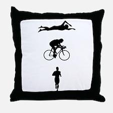 Triatheletes Triathlon Throw Pillow