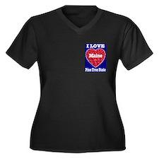 I Love Maine Women's Plus Size V-Neck Dark T-Shirt