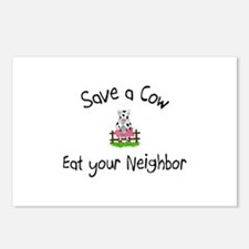 Save A Cow, Eat Your Neighbor Postcards (Package o