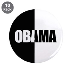 """Obama Racial Unity 3.5"""" Button (10 pack)"""