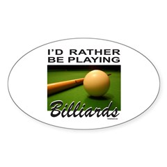BILLIARDS/POOL Oval Sticker (10 pk)