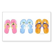 3 Pairs of Flip-Flops Rectangle Decal