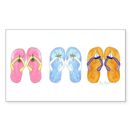 3 Pairs of Flip-Flops Rectangle Sticker