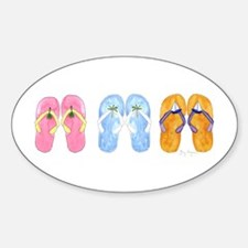 3 Pairs of Flip-Flops Oval Decal