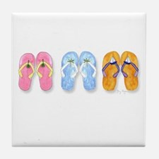 3 Pairs of Flip-Flops Tile Coaster