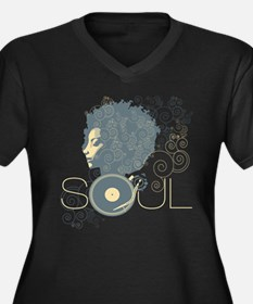 Soul II Women's Plus Size V-Neck Dark T-Shirt