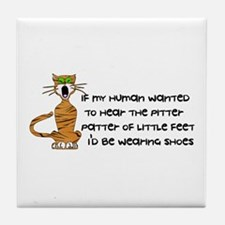 Child-Free Kitty Cat Tile Coaster