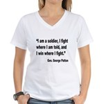 Patton Soldier Fight Quote (Front) Women's V-Neck