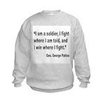 Patton Soldier Fight Quote (Front) Kids Sweatshirt