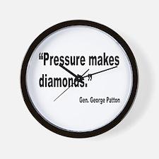 Patton Pressure Makes Diamonds Quote Wall Clock