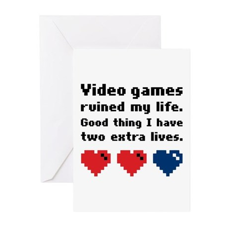 Video Games Ruined My Life. Greeting Cards (Pk of