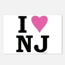 """I LOVE NJ"" Pink Postcards (Package of 8)"