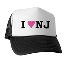 """I LOVE NJ"" Pink Trucker Hat"