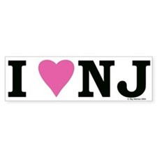 """I LOVE NJ"" Pink Bumper Sticker for the ladies"