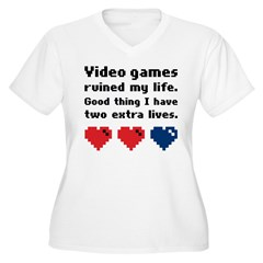 Video Games Ruined My Life. Women's Plus Size V-Ne