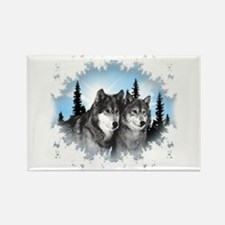 Cute Wolves Rectangle Magnet