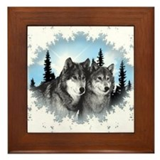 Cute Wolves Framed Tile