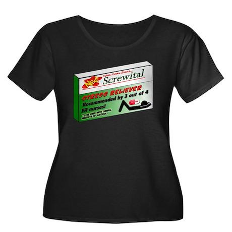 Screwital! Women's Plus Size Scoop Neck Dark T-Shi