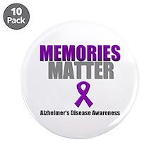 """Alzheimers Memories Matter 3.5"""" Button (10 pack)"""