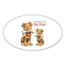 Dogs Big Sister Oval Decal