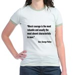 Patton Moral Courage Quote Jr. Ringer T-Shirt