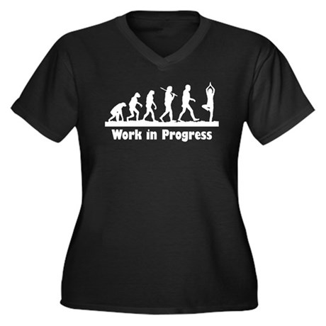 Work in Progress Women's Plus Size V-Neck Dark T-S