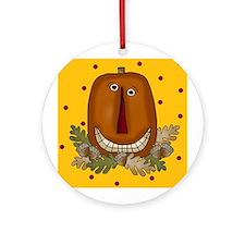 Halloween Folk Art Pimpkin Ornament (Round)