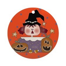 Halloween Girl with Pumpkins Ornament (Round)