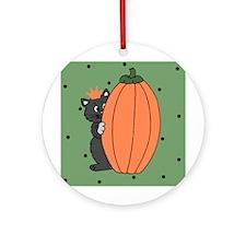 Halloween Black Cat and Pumpkin Ornament (Round)