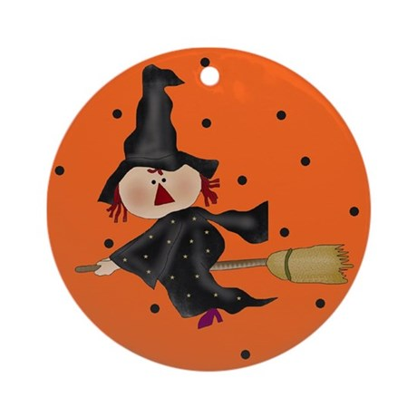 Halloween Witch on Broom Ornament (Round)