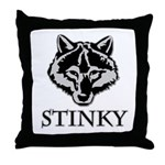 Stinky Wolf Throw Pillow
