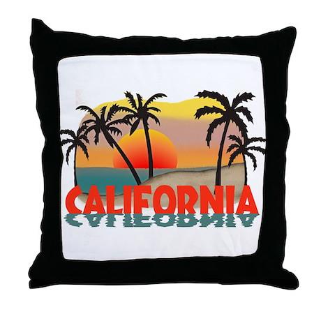 California Beaches Sunset Throw Pillow