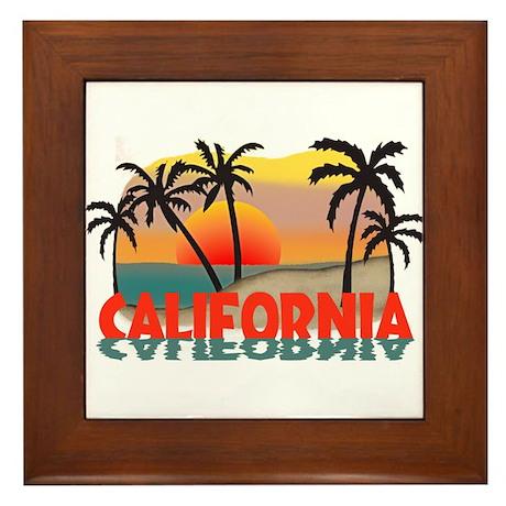 California Beaches Sunset Framed Tile