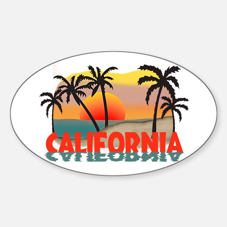 California Beaches Sunset Oval Decal