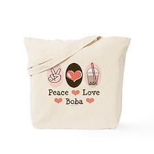 Peace Love Boba Bubble Tea Tote Bag