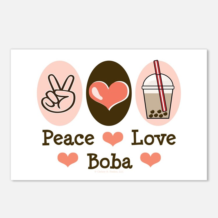 Peace Love Boba Bubble Tea Postcards (Package of 8