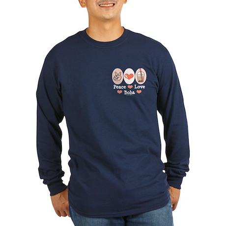 Peace Love Boba Bubble Tea Long Sleeve Dark T-Shir