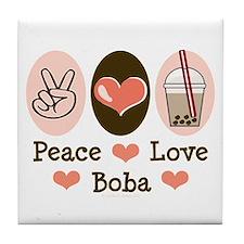 Peace Love Boba Bubble Tea Tile Coaster