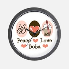 Peace Love Boba Bubble Tea Wall Clock