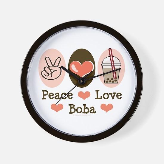 Peace Love Boba Bubble Tea Wall Clock