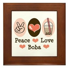 Peace Love Boba Bubble Tea Framed Tile