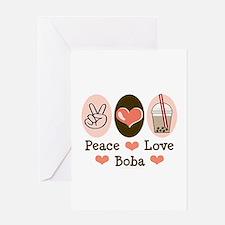Peace Love Boba Bubble Tea Greeting Card