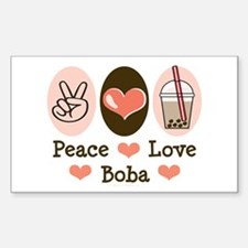 Peace Love Boba Bubble Tea Rectangle Decal